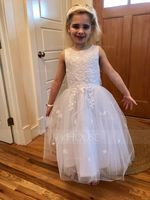 Tea-length Flower Girl Dress - Satin Tulle Sleeveless Scoop Neck With Bow(s) (269193621)