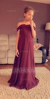A-Line Off-the-Shoulder Floor-Length Chiffon Junior Bridesmaid Dress (009217830)