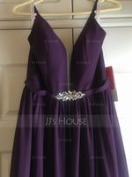 V-neck Floor-Length Chiffon Bridesmaid Dress With Beading Sequins Split Front Pockets (266202691)