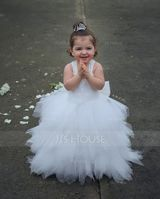 Ball Gown Ankle-length Flower Girl Dress - Tulle/Lace Sleeveless Straps With Bow(s) (010091199)