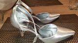 Women's Satin Stiletto Heel Closed Toe Pumps Dyeable Shoes (047088679)