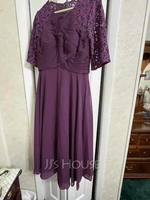 A-Line Scoop Neck Tea-Length Chiffon Lace Mother of the Bride Dress With Ruffle (008255198)