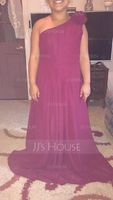 One-Shoulder Floor-Length Chiffon Junior Bridesmaid Dress With Ruffle Flower(s) (268247596)