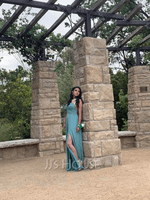 A-Line Square Neckline Floor-Length Chiffon Prom Dresses With Split Front Pockets (018220230)