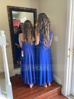 Scoop Neck Asymmetrical Chiffon Junior Bridesmaid Dress With Ruffle (268252864)
