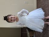 Tea-length Flower Girl Dress - Tulle Long Sleeves Scoop Neck With Appliques (269193694)