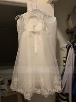 A-Line/Princess Ankle-length Flower Girl Dress - Tulle/Lace Sleeveless Scoop Neck With Back Hole (010148799)