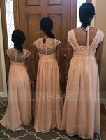 V-neck Floor-Length Chiffon Junior Bridesmaid Dress With Ruffle Bow(s) (268203672)