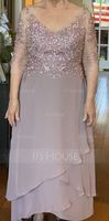 V-neck Asymmetrical Chiffon Lace Mother of the Bride Dress With Beading Sequins (267236190)