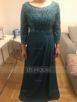 A-Line Scoop Neck Floor-Length Chiffon Lace Mother of the Bride Dress With Beading Sequins (008179180)