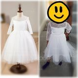 Ball Gown Tea-length Flower Girl Dress - Satin/Tulle/Lace Long Sleeves Scoop Neck (010094097)