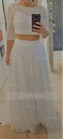 A-Line/Princess Scoop Neck Floor-Length Tulle Wedding Dress (002084734)