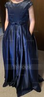 Scoop Neck Floor-Length Satin Lace Junior Bridesmaid Dress With Bow(s) Pockets (268255562)