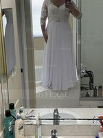 A-Line V-neck Floor-Length Chiffon Lace Mother of the Bride Dress (008114234)