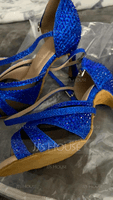 Women's Leatherette Heels Latin With Rhinestone Dance Shoes (053202688)