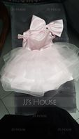 Ball-Gown/Princess Knee-length Flower Girl Dress - Satin/Tulle Sleeveless Scoop Neck With Beading/Bow(s) (010225323)