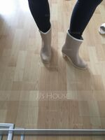 Women's PVC Chunky Heel Closed Toe Boots Ankle Boots Rain Boots With Buckle shoes (088127032)