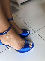 Women's Satin Stiletto Heel Peep Toe Platform Sandals With Buckle Imitation Pearl (047068267)