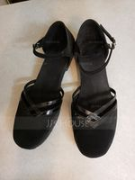 Women's Patent Leather Suede Flats Ballroom With Ankle Strap Dance Shoes (053021442)