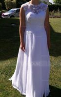 A-Line Scoop Neck Floor-Length Chiffon Wedding Dress With Beading Sequins (002117036)