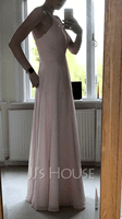 A-Line Scoop Neck Floor-Length Bridesmaid Dress With Ruffle (007251581)
