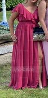 A-Line V-neck Floor-Length Chiffon Prom Dresses With Bow(s) Split Front Cascading Ruffles (018229927)