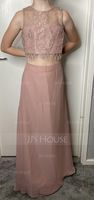 A-Line/Princess Scoop Neck Floor-Length Chiffon Junior Bridesmaid Dress (268177159)