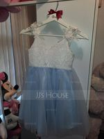 A-Line Knee-length Flower Girl Dress - Chiffon/Satin/Lace Sleeveless V-neck (010225319)