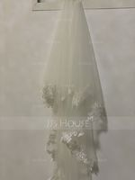 Two-tier Lace Applique Edge Fingertip Bridal Veils With Lace (006233696)