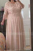 A-Line Scoop Neck Floor-Length Chiffon Lace Mother of the Bride Dress With Beading Sequins (008204906)