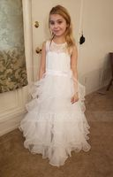 Ball Gown Floor-length Flower Girl Dress - Organza/Charmeuse/Lace Sleeveless Scoop Neck With Flower(s) (010136584)
