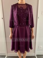 A-Line Scoop Neck Knee-Length Chiffon Mother of the Bride Dress With Beading Sequins (008091941)