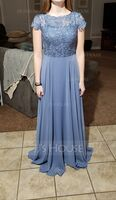 Scoop Neck Floor-Length Chiffon Lace Bridesmaid Dress With Pockets (266224065)