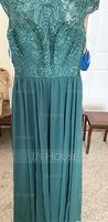 Scoop Neck Floor-Length Chiffon Lace Bridesmaid Dress (266197926)