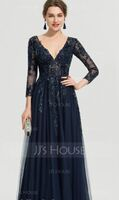 A-Line V-neck Floor-Length Tulle Evening Dress With Sequins (017208785)