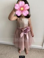 Ankle-length Flower Girl Dress - Tulle Sequined Sleeveless Halter With Flower(s) (269193770)