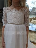 A-Line Floor-length Flower Girl Dress - Tulle/Lace Long Sleeves Off-the-Shoulder With Appliques (010103715)
