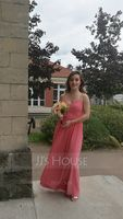 Sweetheart Floor-Length Chiffon Bridesmaid Dress With Ruffle Split Front (266195912)