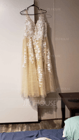 A-Line V-neck Sweep Train Tulle Wedding Dress With Lace (002255069)