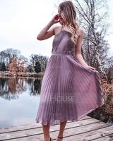 Scoop Neck Tea-Length Chiffon Cocktail Dress With Pleated (270193967)