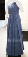 A-Line/Princess Scoop Neck Floor-Length Chiffon Bridesmaid Dress With Ruffle (266177034)