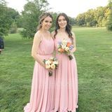 A-Line/Princess V-neck Floor-Length Chiffon Bridesmaid Dress With Bow(s) (007144765)