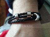 Men Braided Leather Bracelets With Custom Beads In Silver - Father's Day Gifts (106218406)