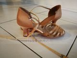 Women's Satin Heels Sandals Latin With Ankle Strap Dance Shoes (053072741)