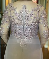 A-Line V-neck Asymmetrical Chiffon Lace Mother of the Bride Dress With Beading Sequins (008217304)