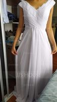 Off-the-Shoulder Floor-Length Chiffon Bridesmaid Dress With Ruffle Lace (266203783)