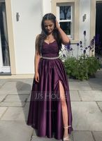 V-neck Sweep Train Satin Prom Dresses With Beading Sequins Split Front (272208539)