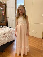 Floor-length Flower Girl Dress - Chiffon Lace Sleeveless Scoop Neck (269250522)