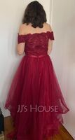 A-Line Off-the-Shoulder Asymmetrical Tulle Homecoming Dress With Beading Sequins Bow(s) (022205057)