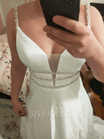 Ball-Gown/Princess V-neck Sweep Train Satin Wedding Dress With Beading (002215660)